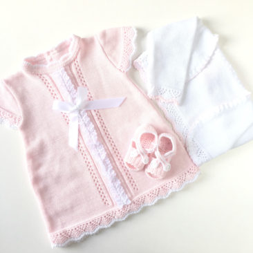 vestido BEBITU con patucos rosa y blanco-